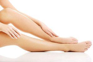 Model touching legs