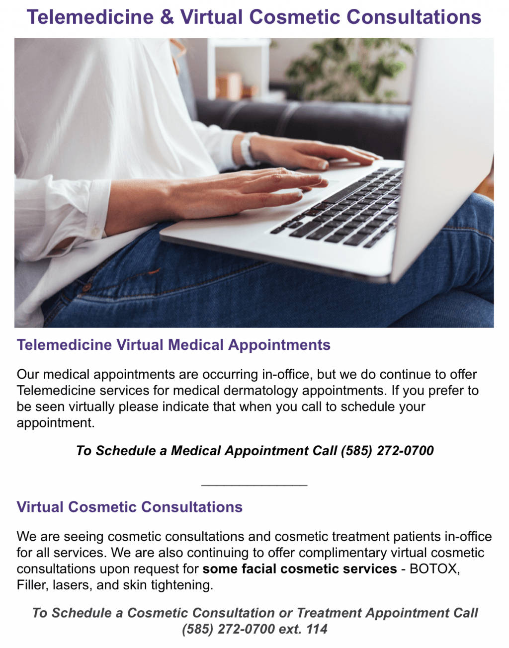 Telemedicine and Virtual cosmetic consultations