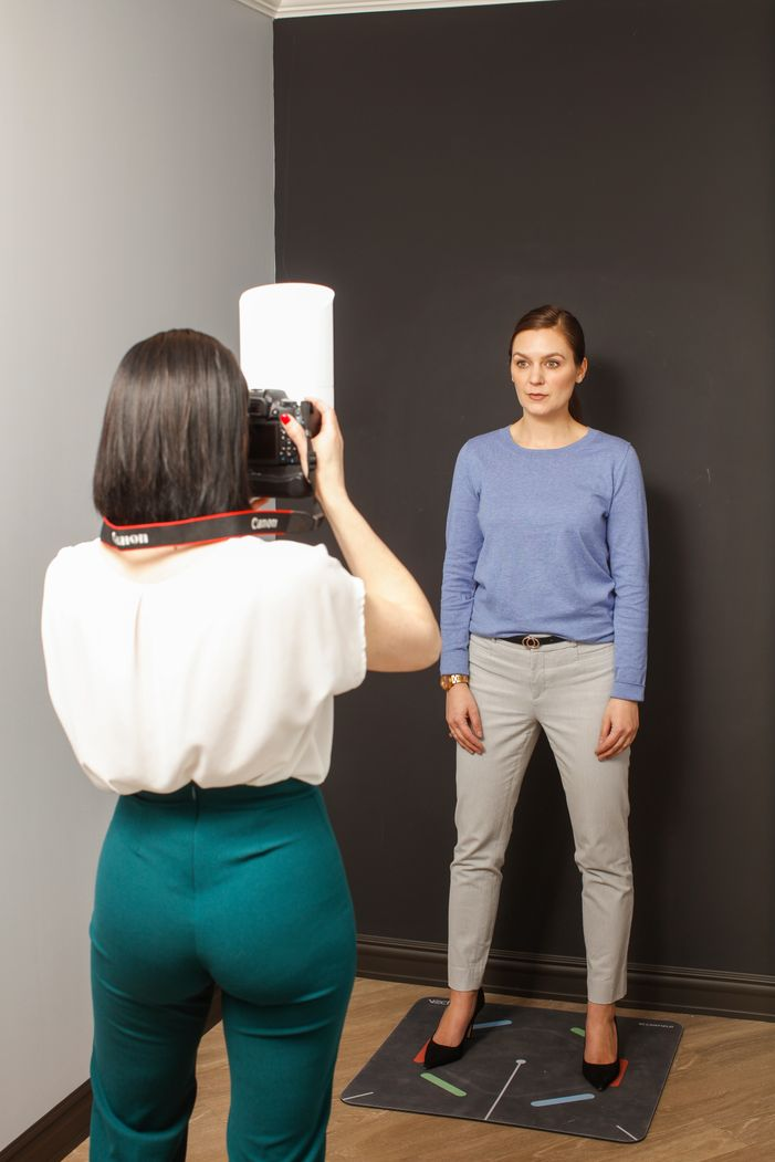 Woman being photographed for Vectra 3D imaging